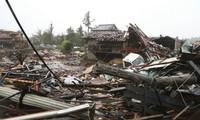 Bão Hagibis gây đổ nhà cửa ở tỉnh Chiba. Ảnh: Jiji Press