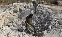 Sau khi thu gom mảnh xác của Abu Bakr al-Baghdadi để mang về xét nghiệm ADN, trực thăng Mỹ bắn phá tan tành nơi ở của thủ lĩnh IS. Ảnh: AP.