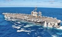 Tàu sân bay Mỹ USS Theodore Roosevelt đi qua Thái Bình Dương hồi tháng 1. Ảnh: US Navy.