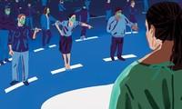 Chỉ trích, bêu xấu trực tuyến có quy mô rất lớn – hàng trăm thông điệp xấu phát sinh trong một giây. Tranh minh họa: Christine Rosch.