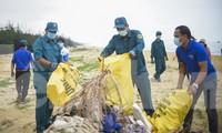 Các bạn thanh niên ra quân làm sạch biển tại bãi biển Tăng Long 2 (phường Tam Quan Nam). Ảnh: Trương Định