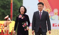 Ủy viên Bộ Chính trị, Bí thư Trung ương Đảng, Trưởng ban Dân vận Trung ương Trương Thị Mai và Bộ trưởng Bộ Tư pháp Lê Thành Long đến dự đại hội.
