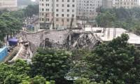 Hiện trường vụ đổ sập công trình xây dựng tại dự án trường mầm non Vườn Xanh sáng nay