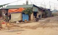 Những ngôi nhà xây dựng không phép ở bãi giữa sông Hồng. (Ảnh: Trần Quý)