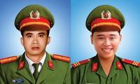 Di ảnh 2 cán bộ chiến sĩ Công an quận Sơn Trà (TP Đà Nẵng) vừa hi sinh khi làm nhiệm vụ.