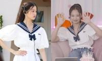 """Đụng hàng trang phục thủy thủ, Jennie ghi điểm trước """"bạn thân Miu Miu"""" Jang Won Young"""