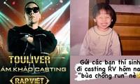 """Touliver """"khóc thét"""" khi Tóc Tiên tặng """"bùa chống run"""" cho thí sinh casting """"Rap Việt"""""""