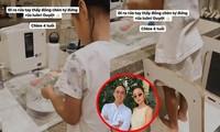 Tăng Thanh Hà tự hào khi con gái Chloe 4 tuổi đã biết giúp mẹ rửa chén