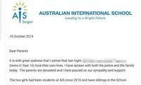 Thông báo về chị em sinh đôi tự tử của trường Quốc tế Australia (AIS)