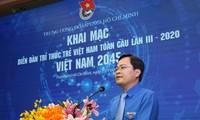 Anh Nguyễn Anh Tuấn, Bí thư thứ nhất Trung ương Đoàn, Chủ tịch Trung ương Hội LHTN Việt Nam phát biểu khai mạc diễn đàn