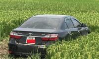 Chiếc Camry gây tai nạn khiến 3 học sinh tử vong.