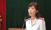Bà Nguyễn Thị Kim Anh trong buổi công bố quyết định thanh tra ngày 10/4.