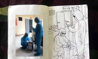 Xúc động tranh vẽ 14 ngày cách ly trong doanh trại của cô gái 18 tuổi