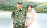 Thượng úy Lê Bá Liêm và vợ sắp cưới Nguyễn Thị Bích Ngọc. Ảnh: NVCC