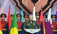 Bộ trưởng Quốc phòng Nga Sergei Shoigu phát biểu bế mạc Army Games 2020. Ảnh: QĐND