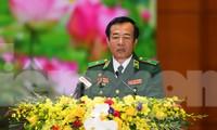 Thiếu tướng Lê Đức Thái, Tư lệnh Bộ đội Biên phòng phát biểu tại Đại hội Đảng bộ Quân đội lần thứ XI