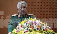 Thượng tướng Nguyễn Chí Vịnh, Thứ trưởng Bộ Quốc phòng phát biểu tại hội nghị. Ảnh: Nguyễn Minh