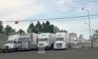 Hàng trăm xe container đang ùn ứ tại Cửa khẩu Quốc tế đường bộ số II Kim Thành.