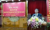 Tân Giám đốc Sở kế hoạch và Đầu tư tỉnh Nam Định phát biểu nhận nhiệm vụ - Ảnh: Hoàng Long