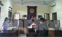Phiên toà xét xử đối tượng cắt trộm cáp trung tính tại hàng loạt trạm biến áp thành phố Nam Định - Ảnh: Hoàng Long