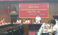 Tỉnh uỷ Thái Bình họp báo tổ chức Đại hội Đảng bộ khóa XX - Ảnh: Hoàng Long