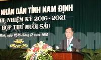 Tân Chủ tịch HĐND tỉnh Nam Định Lê Quốc Chỉnh phát biểu nhận nhiệm vụ - Ảnh: Hoàng Long