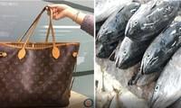 Chiếc túi cao cấp có giá hơn nghìn đô được bà cụ Đài Loan dùng đựng cá tươi. Ảnh minh họa: Nextshark.