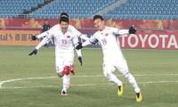 """Quang Hải đăng tải bức ảnh ăn mừng bàn thắng vào lưới U23 Qatar. """"Tôi thực sự quá hạnh phúc. Cảm giác rất khó tả. Nỗ lực của toàn đội đã được đền đáp xứng đáng"""" - Quang Hải trả lời báo chí."""
