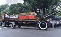 Xe chở thi hài rời Nhà tang lễ quốc gia. Ảnh: VnExpress.