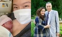 Tôn Dĩnh - bà xã Lưu Thi Côn - bên con gái mới chào đời (trái) và bên ông xã. Ảnh: On.