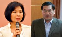 Thứ trưởng Hồ Thị Kim Thoa và ông Vũ Huy Hoàng. Ảnh IT