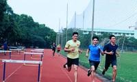 Nụ cười Nguyễn Thị Huyền trong những ngày Trung tâm HLTTQG Hà Nội cấm trại vì COVID-19.