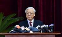 Tổng Bí thư Nguyễn Phú Trọng phát biểu khai mạc Hội nghị Trung ương 6. Ảnh Nhật Bắc