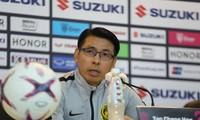 HLV Tan Cheng Hoe của đội tuyển Malaysia trong buổi họp báo sáng nay. Ảnh: Như Ý
