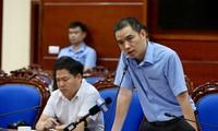 Đại diện công ty CP nước sạch sông Đà tại cuộc họp báo. Ảnh: Hoàng Mạnh Thắng