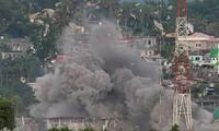 Hình ảnh nổ bom tại thành phố Marawi được công bố vào ngày 9/6. Ảnh: AP