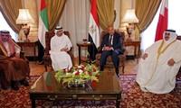 Đại diện các quốc gia áp lệnh trừng phạt đối với Qatar. Ảnh: AFP