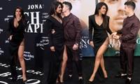 Hoa hậu Priyanka Chopra diện váy xẻ đùi cao 'tình bể bình' cùng chồng trẻ