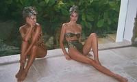 Chị cả 'nấm lùn' nhà Kardashian diện bikini da báo đọ dáng với em gái siêu mẫu