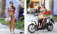 Katie Price mặc bikini, chân trần 'cưỡi' xe máy đi mua đồ ăn nhanh
