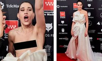 Phấn khích vì phim thắng giải, sao nữ bị tụt váy lộ ngực trên thảm đỏ