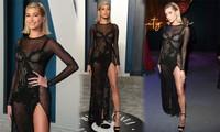 Hailey Bieber diện váy lấy cảm hứng từ nội y ren, lẻ bóng tại tiệc hậu Oscar