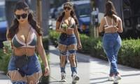 Demi Rose phối áo bra với quần jean rách tươm, vòng 1 'khủng' hút mắt
