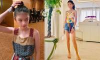 Con gái Trương Ngọc Ánh gây sốt với đôi chân thon nuột, dài miên man tuổi 12