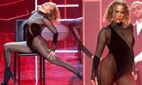 'Nóng mặt' với bộ đồ vừa cắt xẻ vừa xuyên thấu táo bạo của Jennifer Lopez