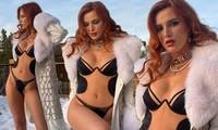 Sao lưỡng tính Bella Thorne diện nội y gợi cảm tạo dáng giữa trời tuyết