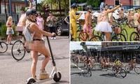 Hàng trăm người khỏa thân đạp xe quanh thị trấn du lịch ven biển