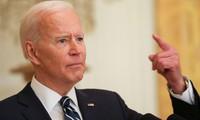 Ông Biden trong cuộc họp báo chính thức đầu tiên tại Nhà Trắng. Ảnh: Reuters