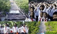 Học sinh trường Lương Thế Vinh nhảy flashmob trong Lễ khai giảng, tưởng nhớ thầy Văn Như Cương