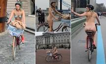 Cô gái gần như khoả thân, đạp xe quanh London giữa lạnh giá 10 độ C vì lý do bất ngờ